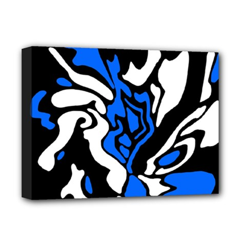 Blue, black and white decor Deluxe Canvas 16  x 12
