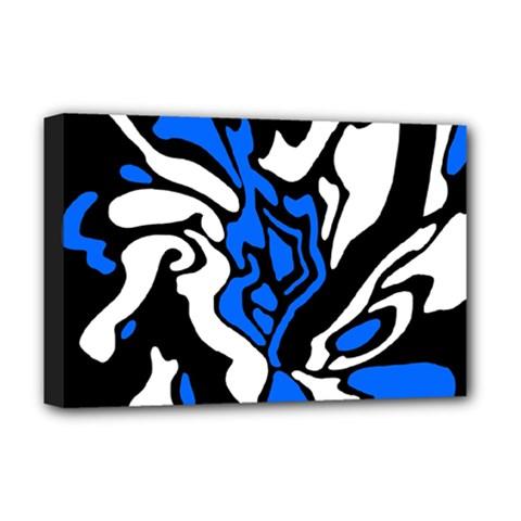 Blue, black and white decor Deluxe Canvas 18  x 12