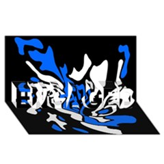 Blue, black and white decor ENGAGED 3D Greeting Card (8x4)