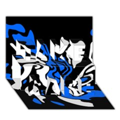 Blue, black and white decor TAKE CARE 3D Greeting Card (7x5)