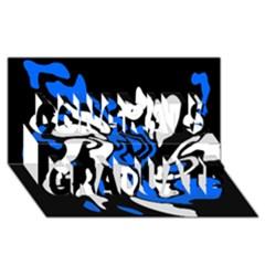 Blue, black and white decor Congrats Graduate 3D Greeting Card (8x4)