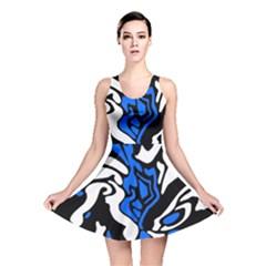 Blue, black and white decor Reversible Skater Dress