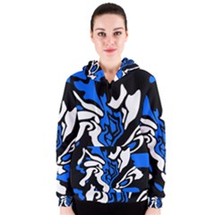 Blue, black and white decor Women s Zipper Hoodie