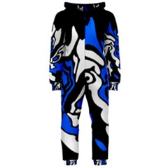 Blue, black and white decor Hooded Jumpsuit (Ladies)