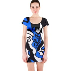 Blue, black and white decor Short Sleeve Bodycon Dress