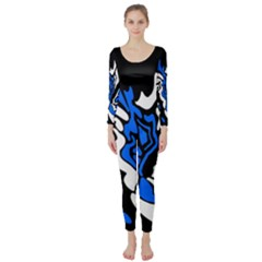 Blue, black and white decor Long Sleeve Catsuit