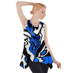 Blue, Black And White Decor Side Drop Tank Tunic