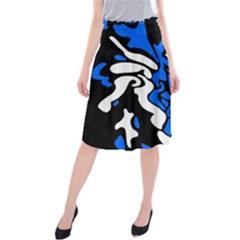 Blue, Black And White Decor Midi Beach Skirt