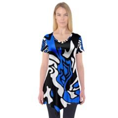 Blue, black and white decor Short Sleeve Tunic
