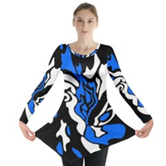 Blue, Black And White Decor Long Sleeve Tunic