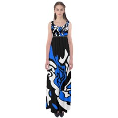 Blue, black and white decor Empire Waist Maxi Dress