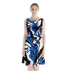 Blue, black and white decor Sleeveless Chiffon Waist Tie Dress