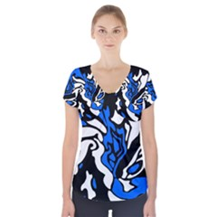 Blue, black and white decor Short Sleeve Front Detail Top