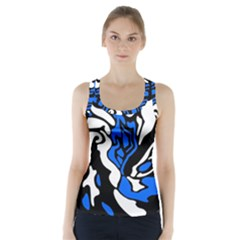 Blue, black and white decor Racer Back Sports Top
