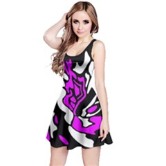 Purple, white and black decor Reversible Sleeveless Dress