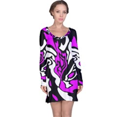 Purple, white and black decor Long Sleeve Nightdress