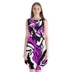 Purple, white and black decor Sleeveless Chiffon Dress