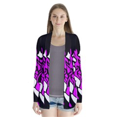 Purple, white and black decor Drape Collar Cardigan
