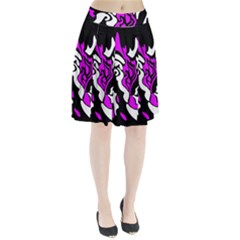 Purple, white and black decor Pleated Skirt