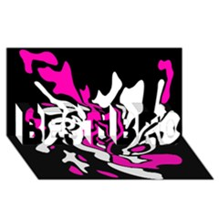 Magenta, black and white decor BEST BRO 3D Greeting Card (8x4)