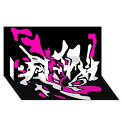 Magenta, black and white decor PARTY 3D Greeting Card (8x4)