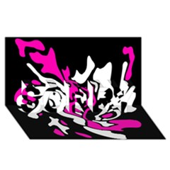 Magenta, black and white decor SORRY 3D Greeting Card (8x4)