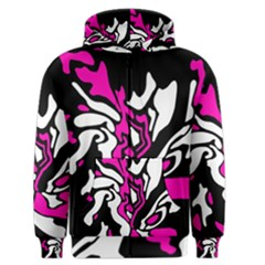 Magenta, black and white decor Men s Zipper Hoodie