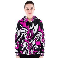 Magenta, black and white decor Women s Zipper Hoodie