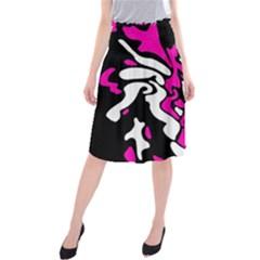 Magenta, black and white decor Midi Beach Skirt