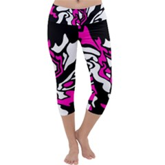 Magenta, Black And White Decor Capri Yoga Leggings
