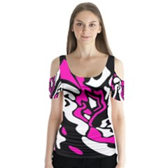 Magenta, black and white decor Butterfly Sleeve Cutout Tee