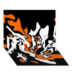 Orange, white and black decor HOPE 3D Greeting Card (7x5)