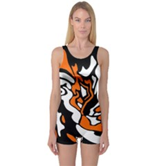Orange, white and black decor One Piece Boyleg Swimsuit