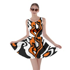 Orange, white and black decor Skater Dress