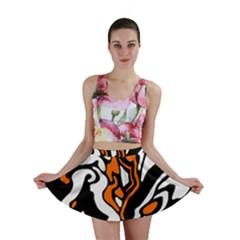 Orange, white and black decor Mini Skirt