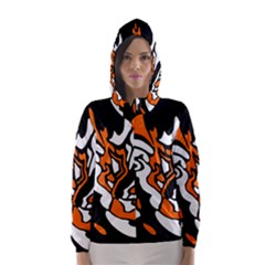 Orange, white and black decor Hooded Wind Breaker (Women)