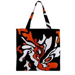 Orange, white and black decor Zipper Grocery Tote Bag