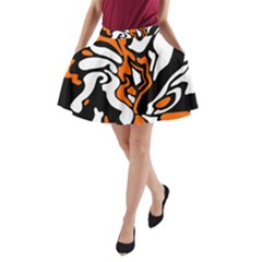 Orange, White And Black Decor A Line Pocket Skirt