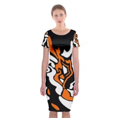 Orange, white and black decor Classic Short Sleeve Midi Dress