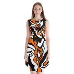 Orange, white and black decor Sleeveless Chiffon Dress