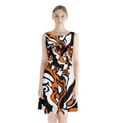 Orange, White And Black Decor Sleeveless Chiffon Waist Tie Dress