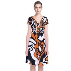 Orange, White And Black Decor Short Sleeve Front Wrap Dress