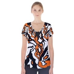 Orange, white and black decor Short Sleeve Front Detail Top