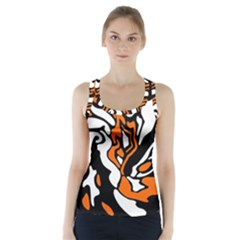 Orange, White And Black Decor Racer Back Sports Top