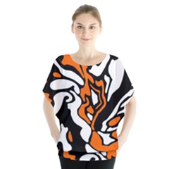 Orange, white and black decor Blouse