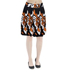 Orange, white and black decor Pleated Skirt