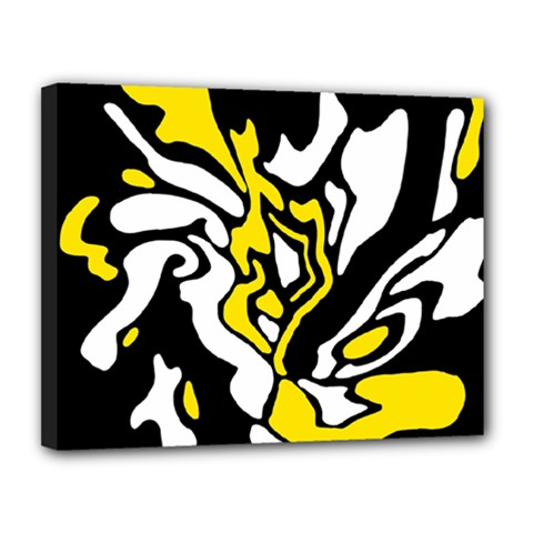 Yellow, black and white decor Canvas 14  x 11