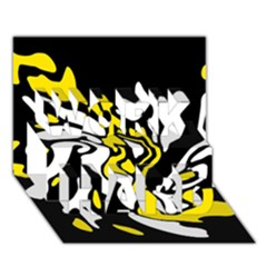 Yellow, black and white decor WORK HARD 3D Greeting Card (7x5)