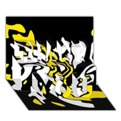 Yellow, black and white decor THANK YOU 3D Greeting Card (7x5)