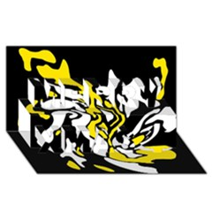 Yellow, black and white decor Merry Xmas 3D Greeting Card (8x4)